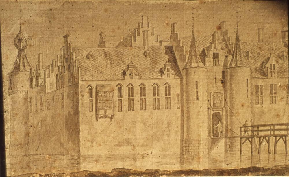 Ru�ne van Kasteel Toutenburg in Vollenhove. Tekening Abraham de Haen